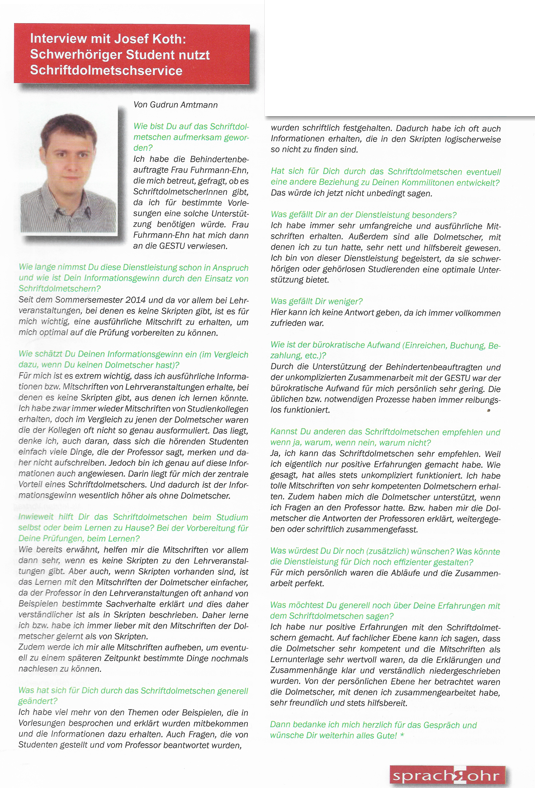 AMTMANN interviewt Josef Koth
