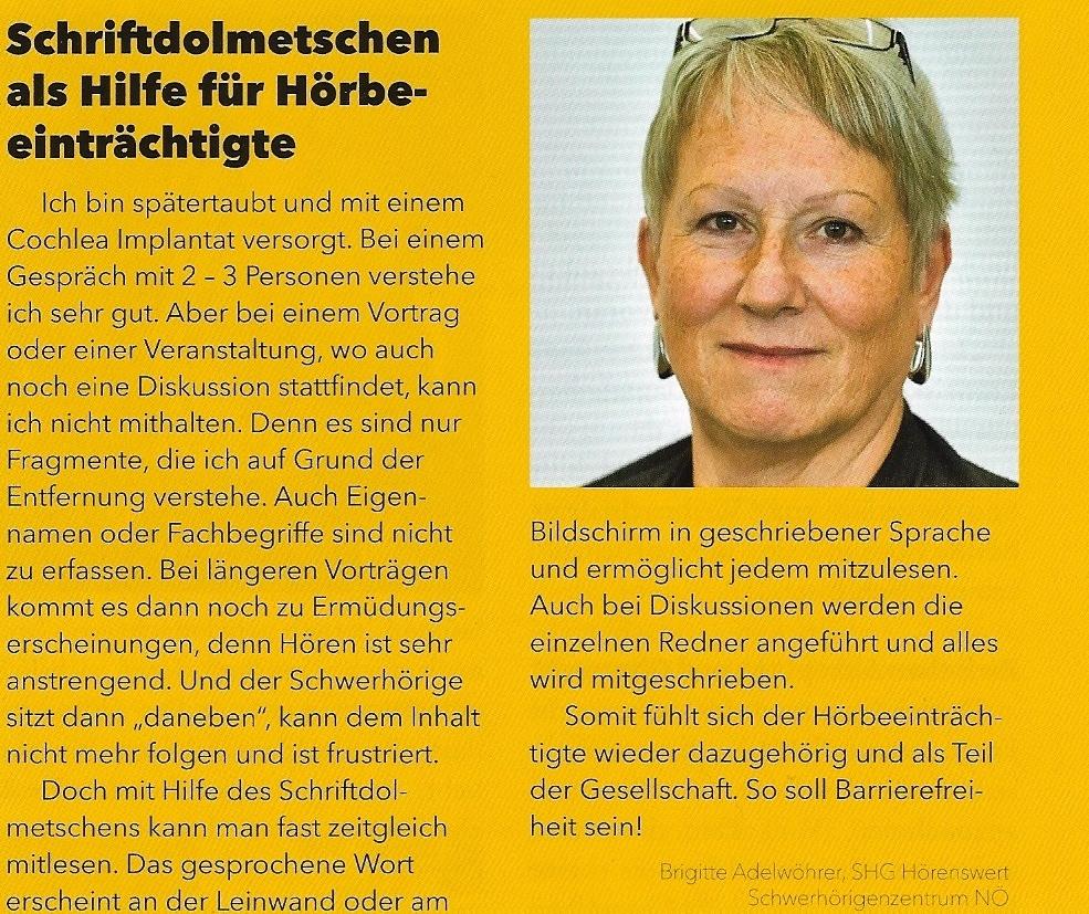 """Brigitte Adelwöhrer schreibt als Ergänzung zu dem Artikel über Schriftdolmetschen im """"Blickpunkt"""" einen Kommentar als Betroffene"""